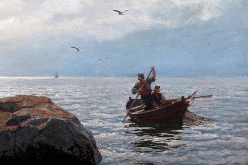 Strandstener, kystlandskap med fiskere 1893