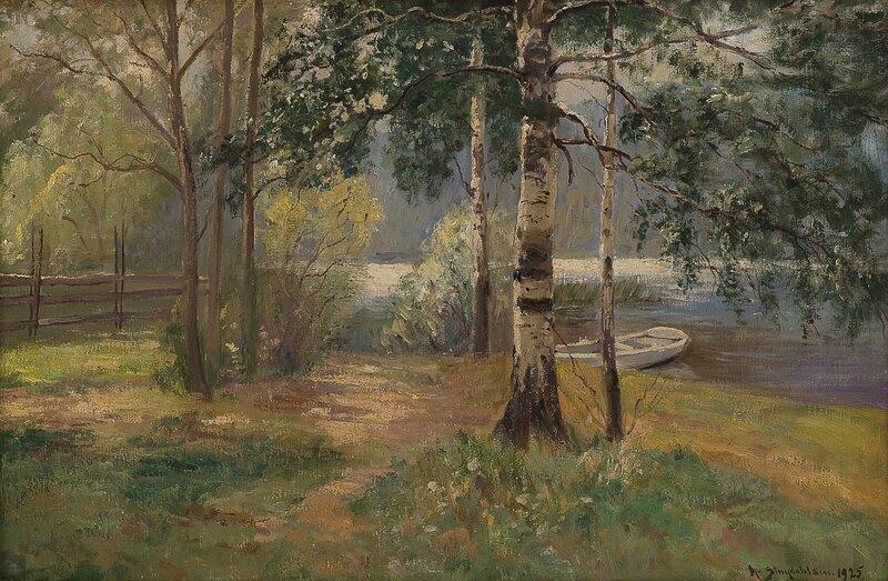 Innsjø med pram 1925