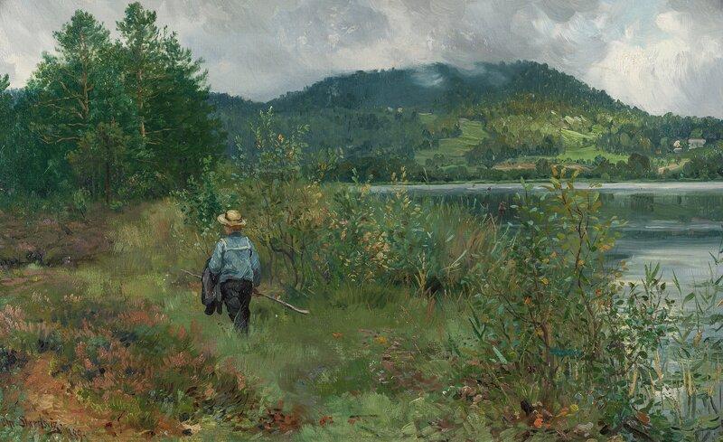 Gutt på fisketur ved Dælivannet 1889