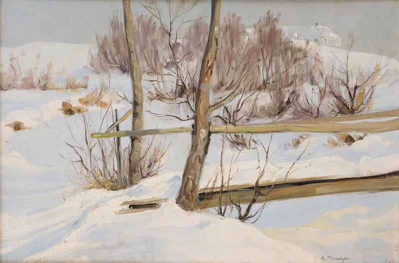 Vinterlandskap med hus
