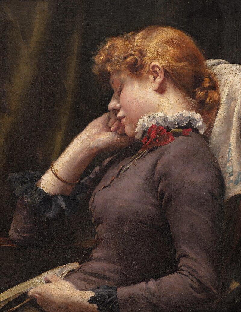 Hvilende kvinne med bok