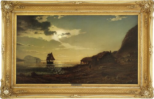 Kystlandskap med seilskute 1869