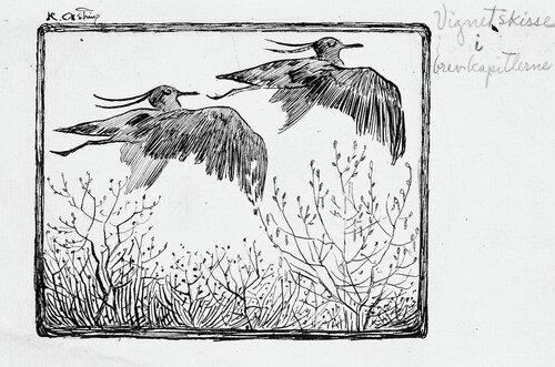 To flyvende fugler Vignett-skisse