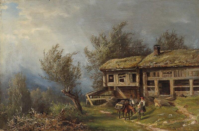 Gårdstun med folkeliv 1870