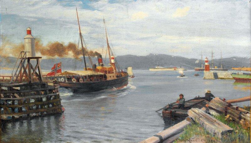 Fjordabåt stevner ut Trondheim havn 1893