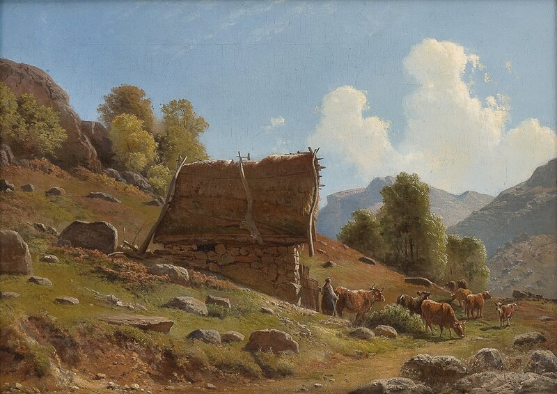 Budeie med kyr ved en seter 1861