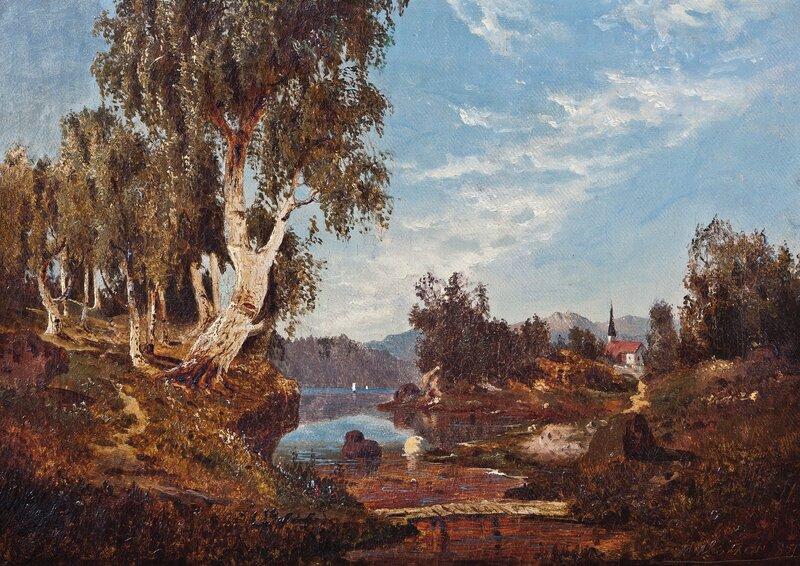 Landskap med vann og kirke 1851