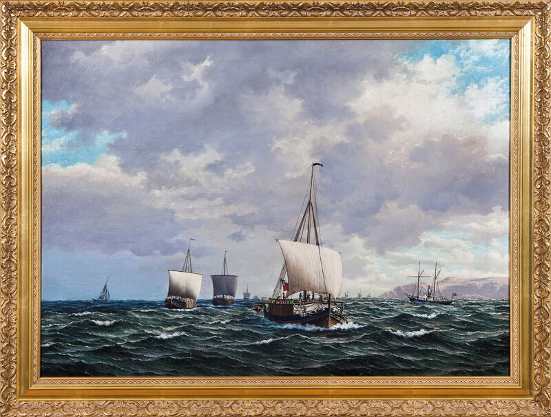 Frakteskuter og dampskip i rom sjø 1879