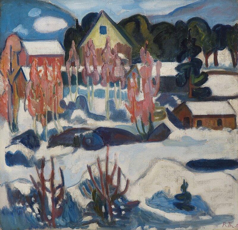 Hus i vinterlandskap 1918