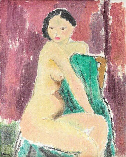 Kvinneakt med grønt klede