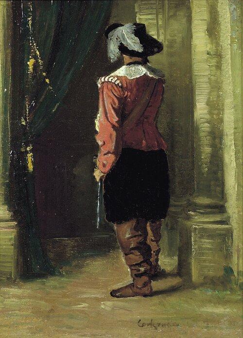 Mann i renessansedrakt sett bakfra