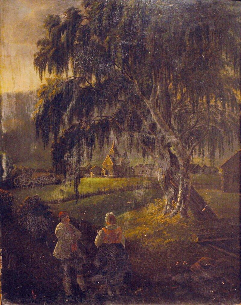 Kvinne og mann i bunad ved stavkirke
