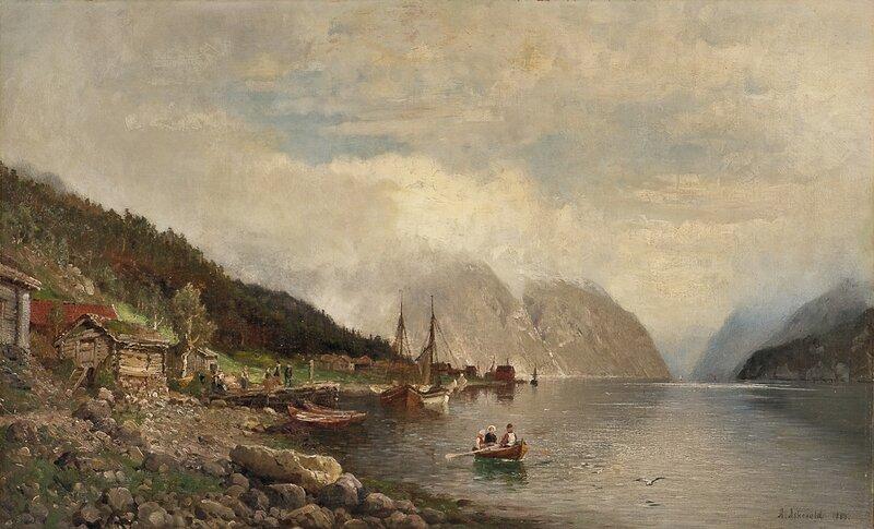 Fjordlandskap med folkeliv 1888