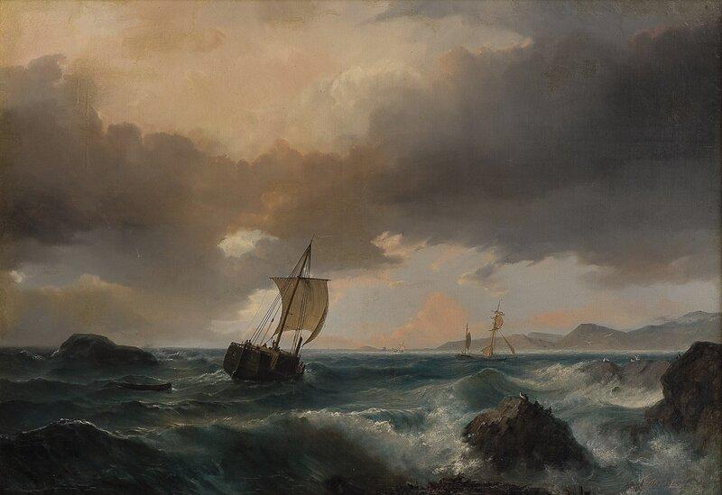 Kystlandskap med seilskuter og sjøfugler 1853