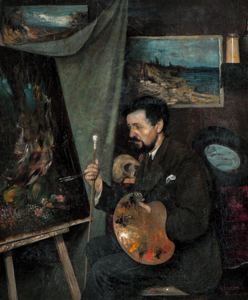 Selvportrett i atelieret 1880