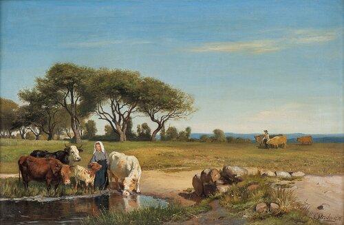 Landskap med gjeterjente og kyr 1876