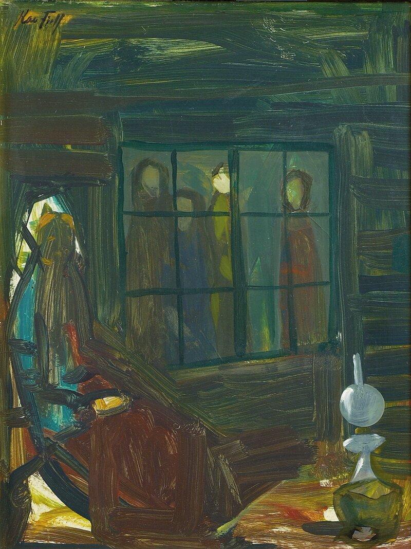 Kvinne ved lampe
