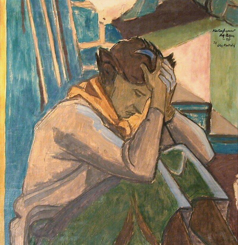 Sittende kvinne med hendene mot hodet 1955