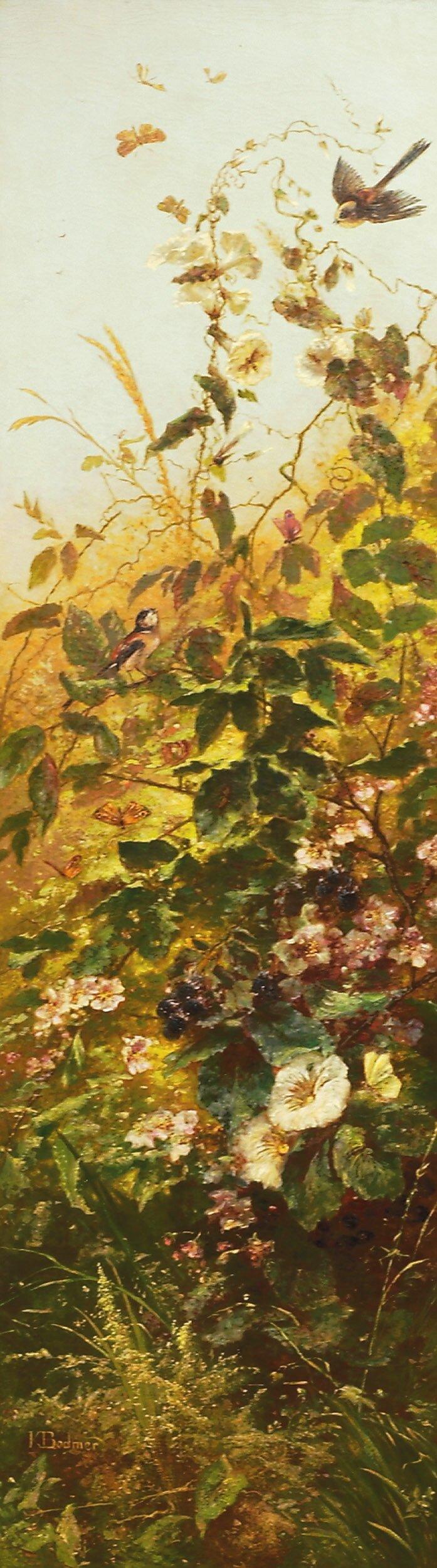 Blomster, fugler og sommerfugler