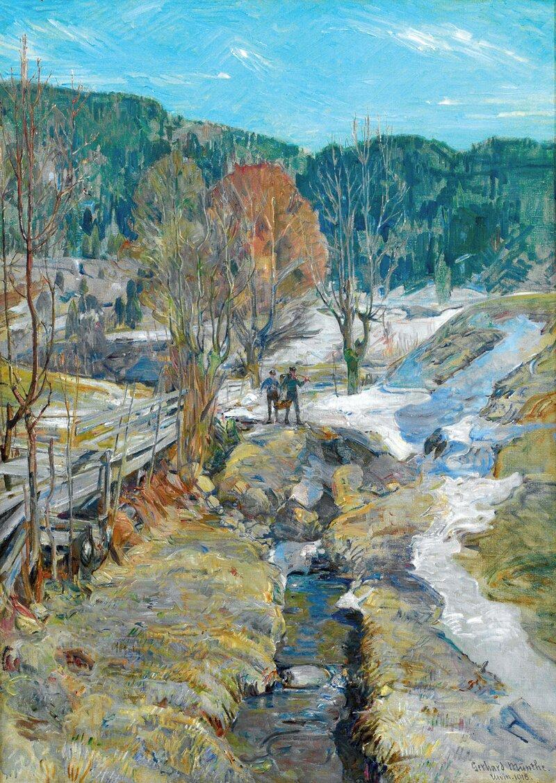 Landskap med to gutter ved bekk, Ulvin 1918