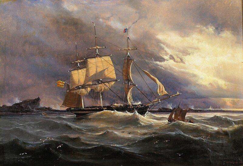 Seilskip og losbåt ved Lindesnes 1844