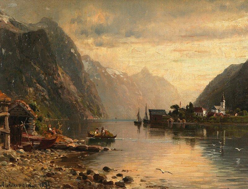 Fjordlandskap med kirkested 1891