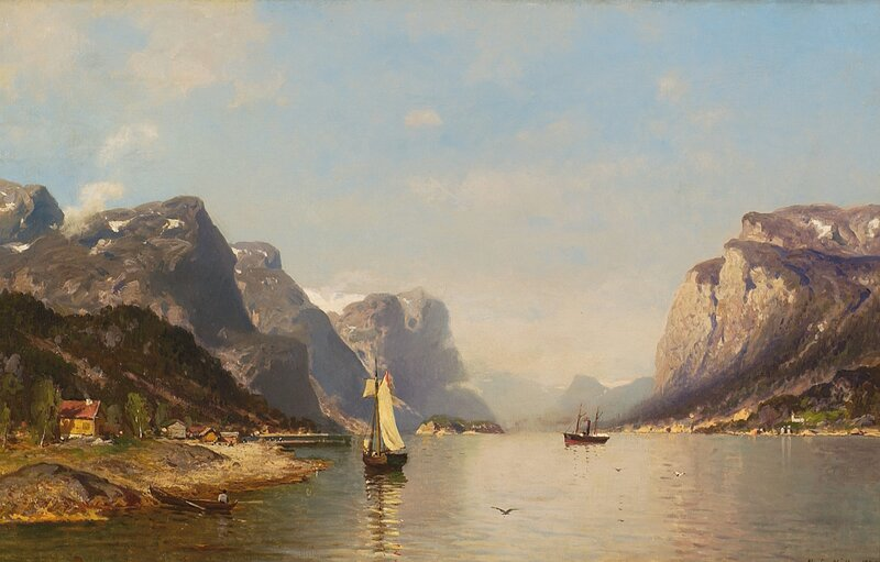 Dampskip og seilbåt i fjordlandskap 1878