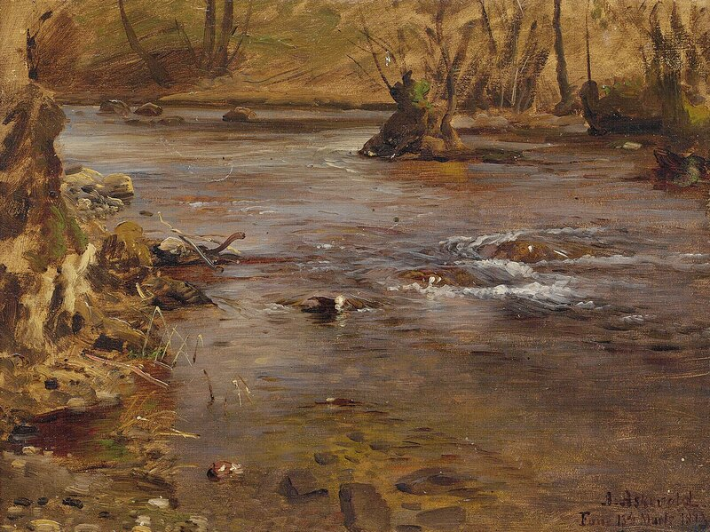 Studie av elvelandskap 1873