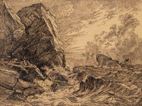 Skipbrudd ved klippekyst 1819