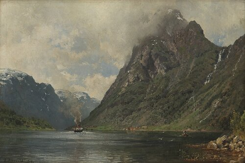Fjordlandskap med dampbåt og folkeliv 1886