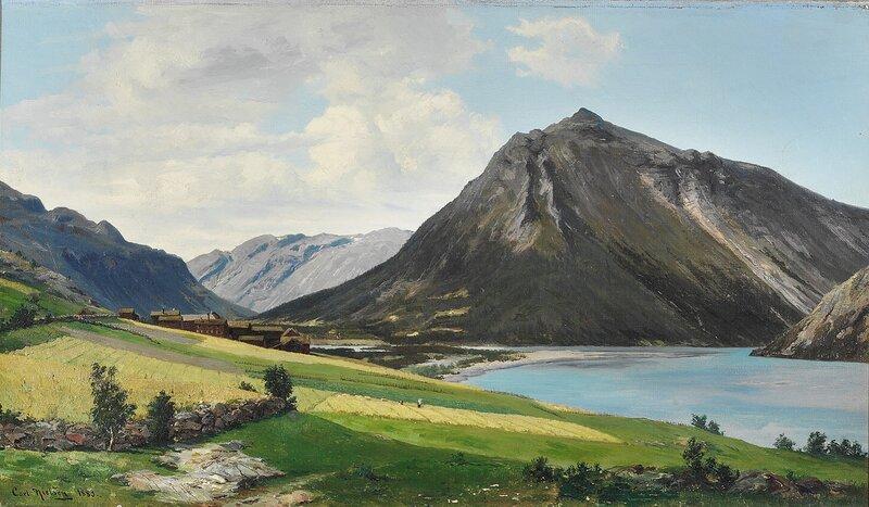 Elvelandskap med gård 1883