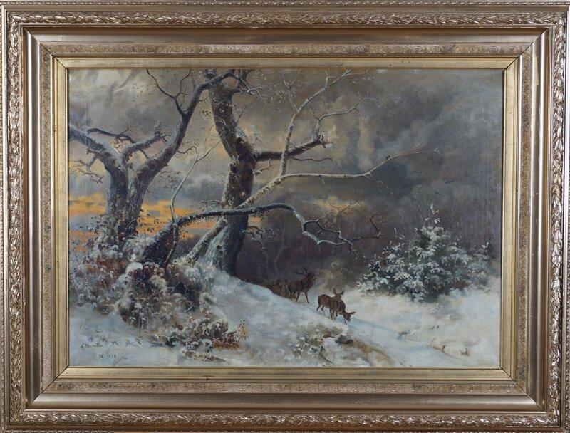 Vinterlandskap med hjort, ettermiddagslys 1888