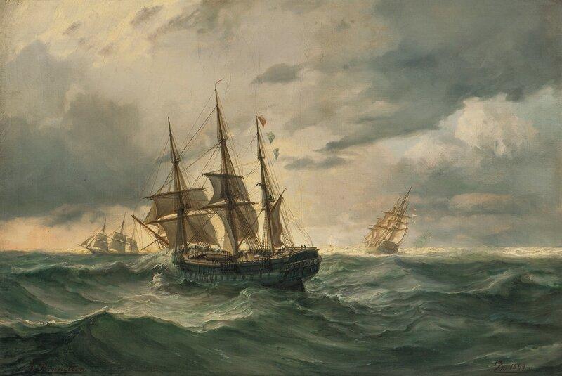 Seilskuter til havs 1864