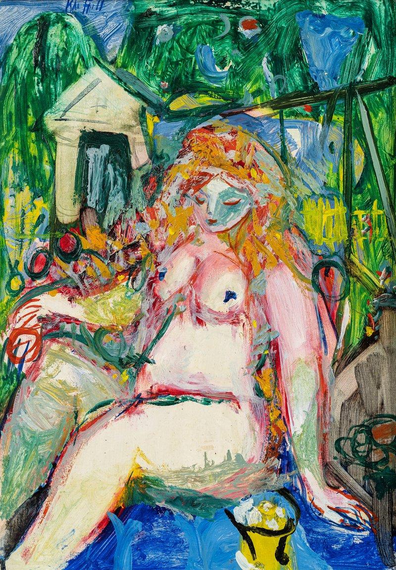Kvinne i hage