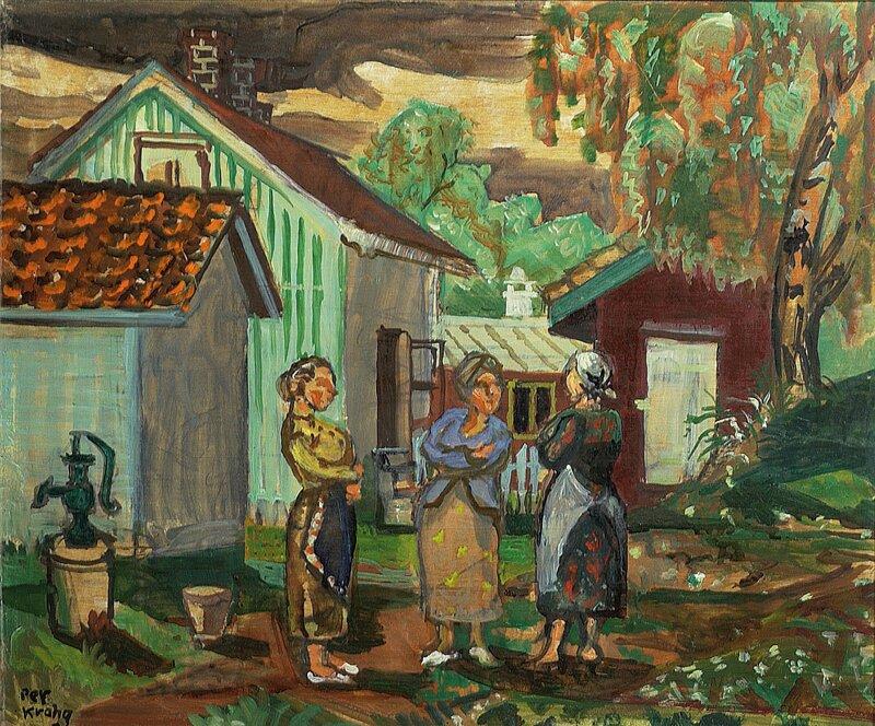 Tre kvinner ved en vannpost