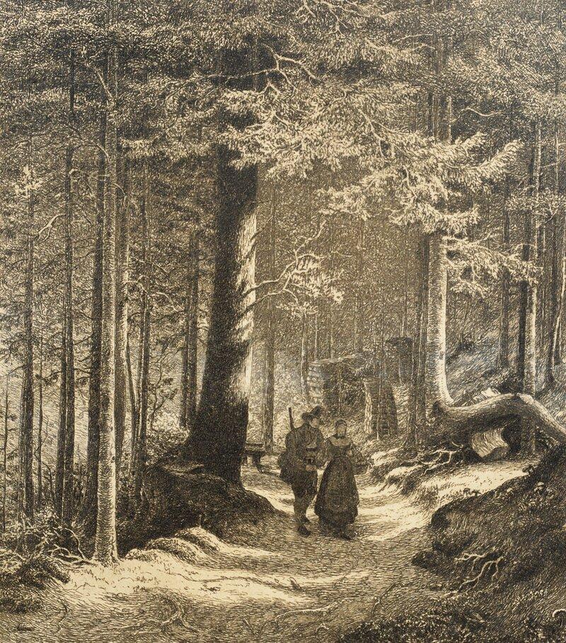 Skoginteriør med to figurer 1839
