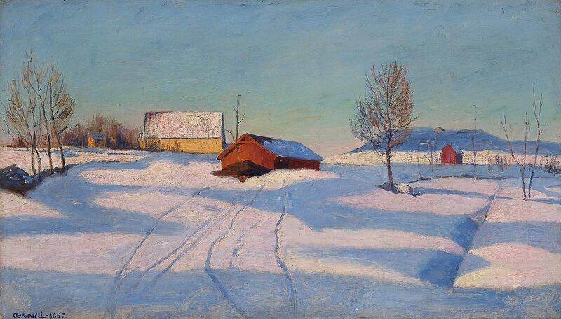 Winter landscape with farm