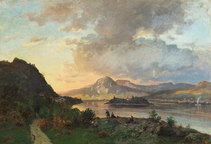 Folkeliv ved innsjø 1875