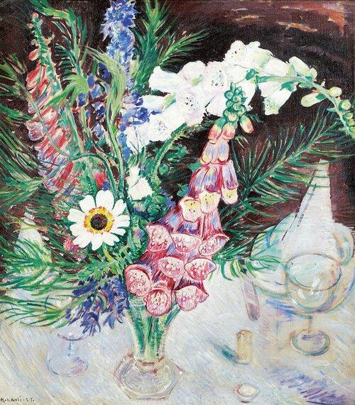Oppstilling med blomster i vase 1924