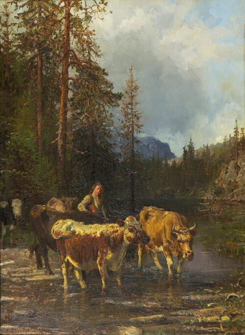 Budeie og kyr ved vanningsted 1883