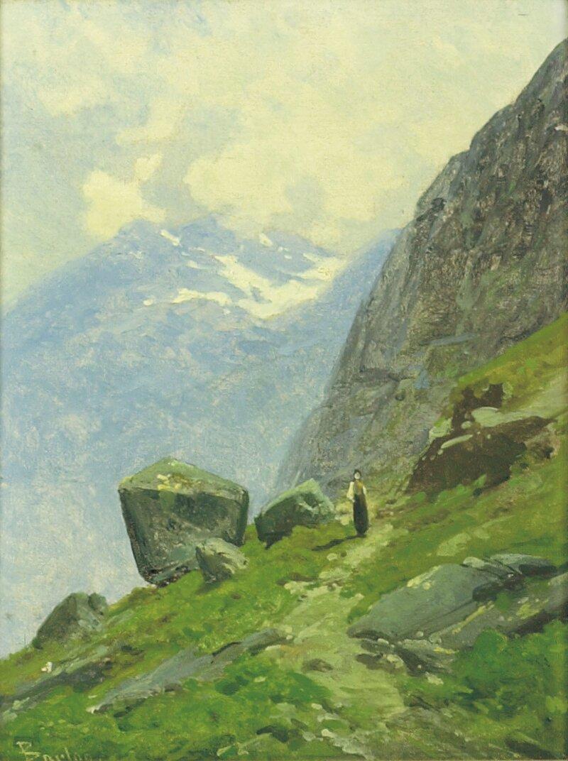 Kvinne i fjellandskap