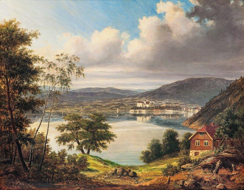 Utsyn mot Akershus festning og slottet 1842
