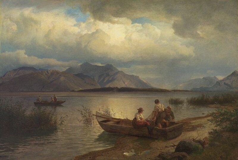 Fiskere ved innsjø 1868