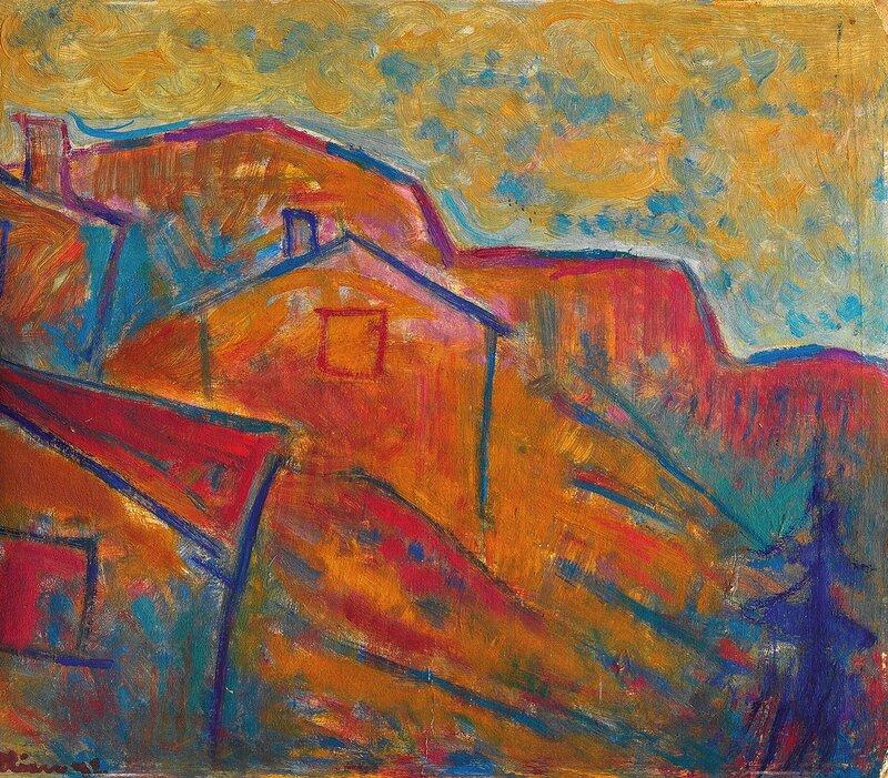Landskap med hus 1932