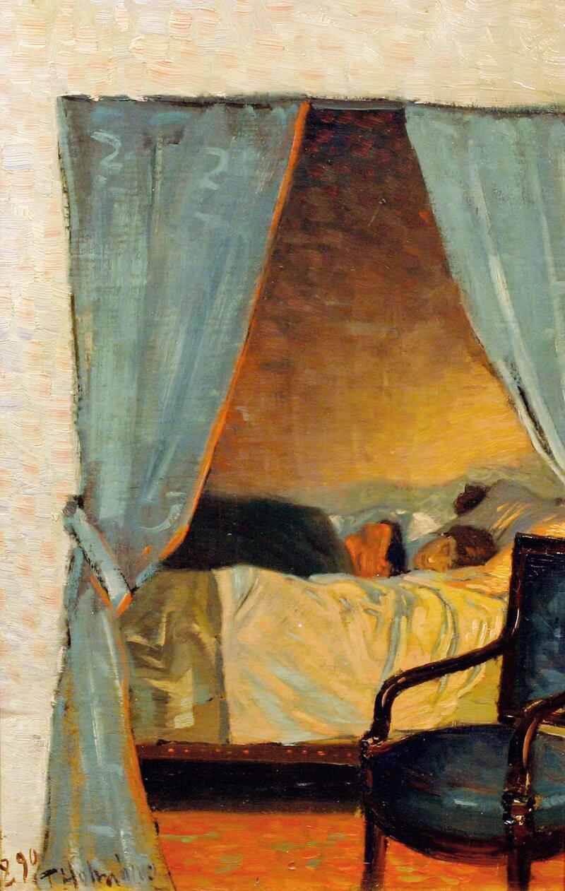 Interiør med hvilende kvinne 1890