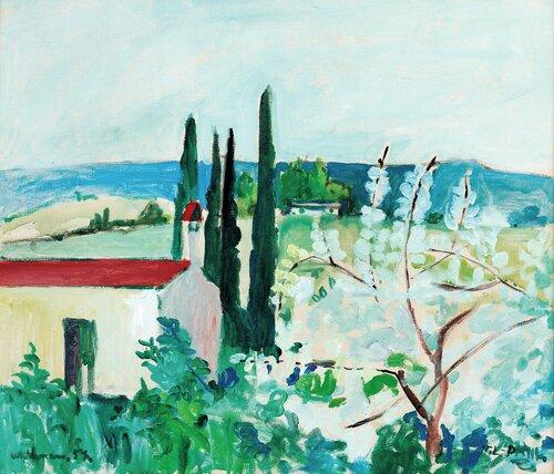 Landskap med hus, Frankrike 1957