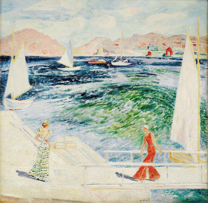 To kvinner på brygge, båtliv