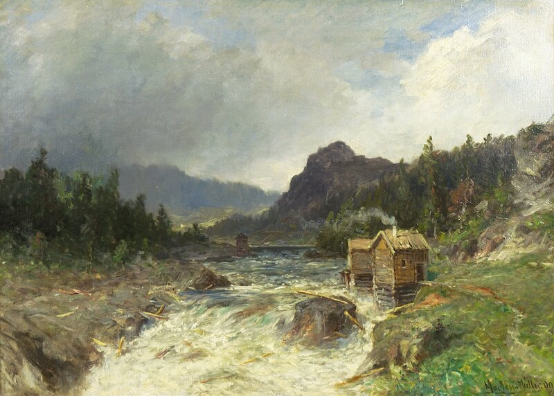 Fossefall med kvernhus 1909
