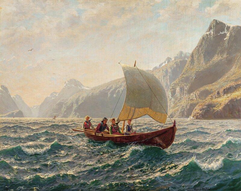 Seilende på fjorden