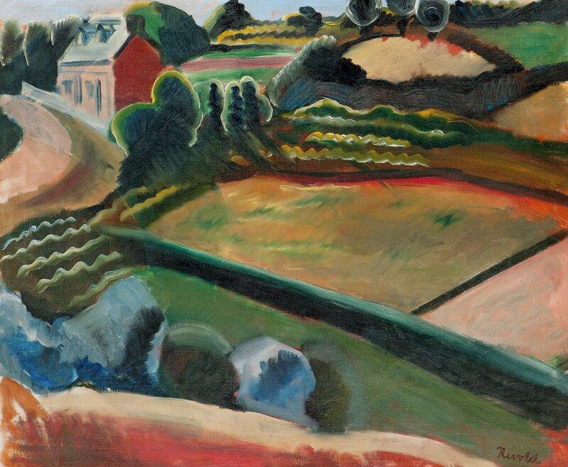 Åkerlandskap med hus 1919